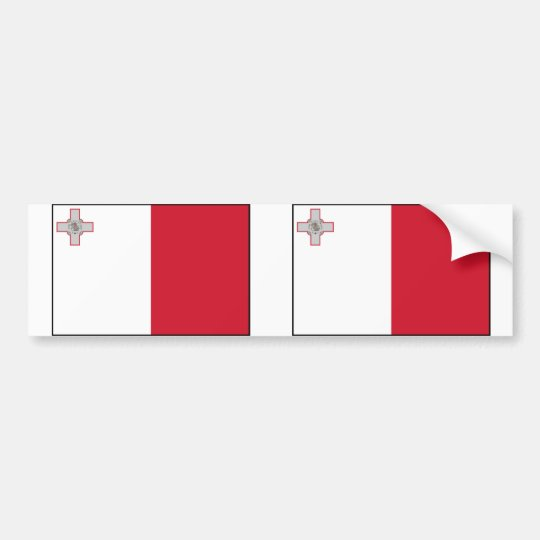 Malta With Border, Malta flag Bumper Sticker