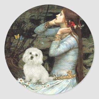 Maltese 11 - Ophelia Seated Classic Round Sticker