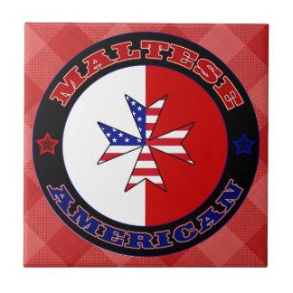 Maltese American Cross Ensign Ceramic Tile