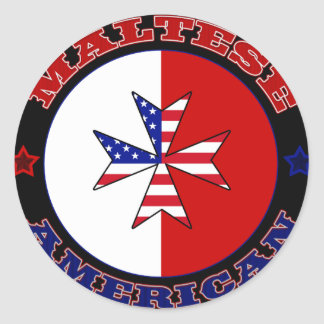 Maltese American Cross Ensign Classic Round Sticker