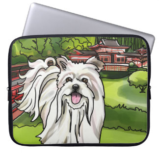 Maltese at Byodo-In Temple Garden, Hawaii Laptop Sleeve