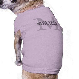 Maltese Breed Monogram Design Dog T Shirt