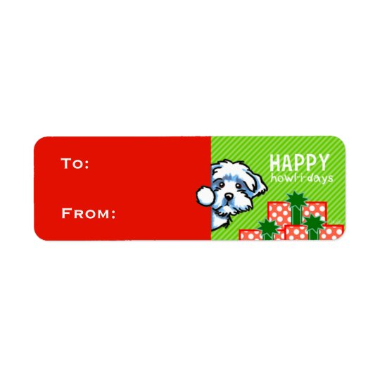 Maltese Christmas Gift Tags Red Green