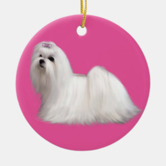 Maltese Christmas Ornament