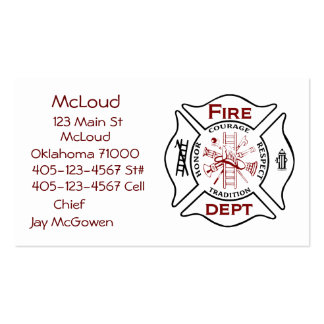 Maltese Cross Bussiness Cards Fire Fighters Pack Of Standard Business Cards