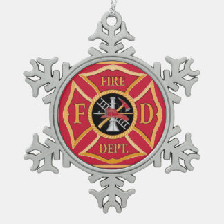 Maltese Cross Firefighter Snowflake Ornament