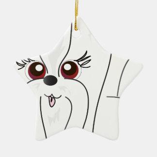 Maltese Dog Art Ceramic Ornament