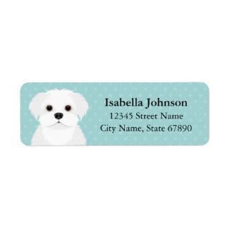Maltese Dog Blue Return Address Label