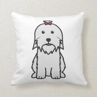 Maltese Dog Cartoon Throw Pillow