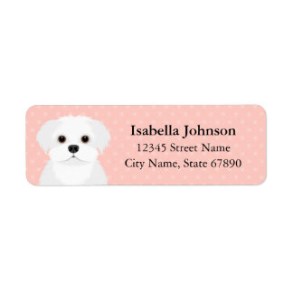 Maltese Dog Pink Return Address Label