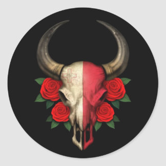 Maltese Flag Bull Skull with Red Roses Classic Round Sticker