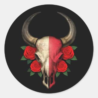 Maltese Flag Bull Skull with Red Roses Classic Round Sticker