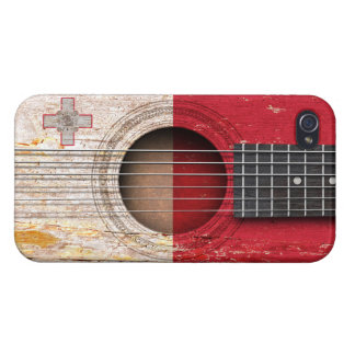 Maltese Flag on Old Acoustic Guitar iPhone 4 Case