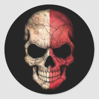 Maltese Flag Skull on Black Classic Round Sticker
