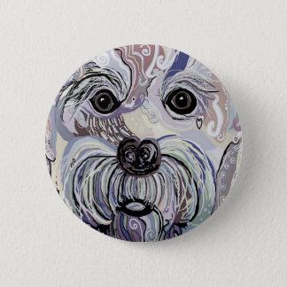 Maltese in Denim Colors 2 Inch Round Button
