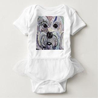 Maltese in Denim Colors Baby Bodysuit