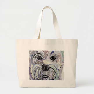 Maltese in Denim Colors Large Tote Bag