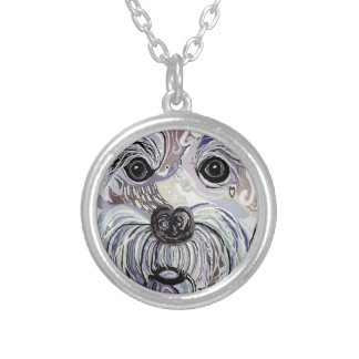 Maltese in Denim Colors Silver Plated Necklace