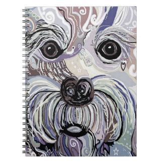 Maltese in Denim Colors Spiral Notebook