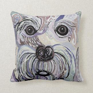 MALTESE  in Denim Colors Throw Pillow