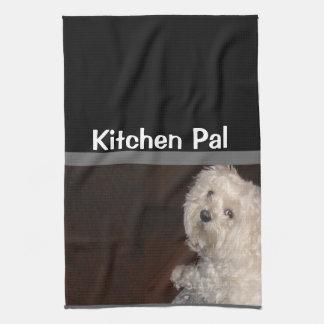 MALTESE Kitchen Pal Towel-Humor - Gray/Black/White Kitchen Towel