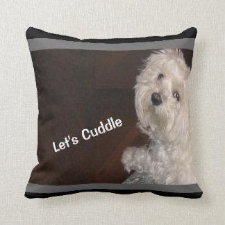 Maltese LET'S CUDDLE Pillow-Black/White/Gray Throw Pillow