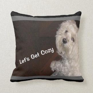 Maltese LET'S GET COZY Pillow-Black/White/Gray Throw Pillow