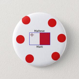 Maltese (Malti) Language And Malta Flag Design 2 Inch Round Button