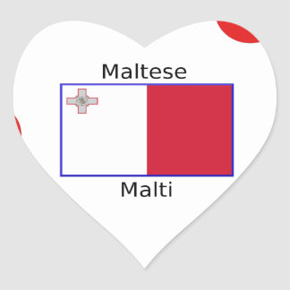 Maltese (Malti) Language And Malta Flag Design Heart Sticker