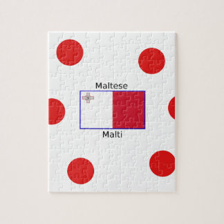 Maltese (Malti) Language And Malta Flag Design Jigsaw Puzzle