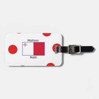 Maltese (Malti) Language And Malta Flag Design Luggage Tag