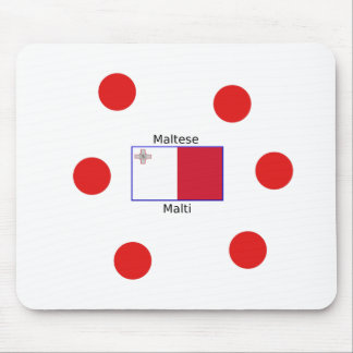 Maltese (Malti) Language And Malta Flag Design Mouse Pad