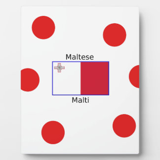 Maltese (Malti) Language And Malta Flag Design Plaque