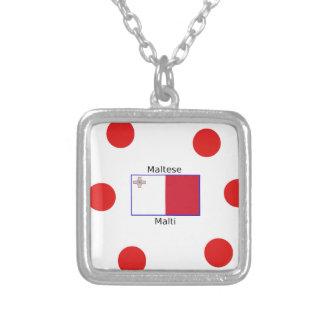 Maltese (Malti) Language And Malta Flag Design Silver Plated Necklace