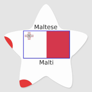 Maltese (Malti) Language And Malta Flag Design Star Sticker