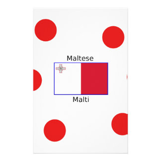 Maltese (Malti) Language And Malta Flag Design Stationery