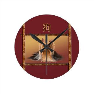 Maltese on Asian Design Chinese New Year, Dog Round Clock