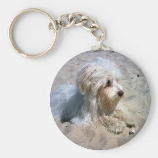 maltese on beach basic round button keychain