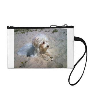 maltese on beach coin purse