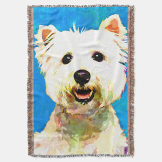 Maltese Pop Art Watercolor Portrait Throw Blanket
