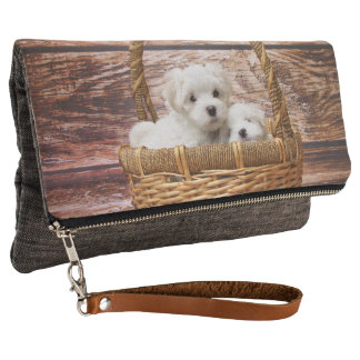 Maltese puppies, or use your own cute dog photo clutch