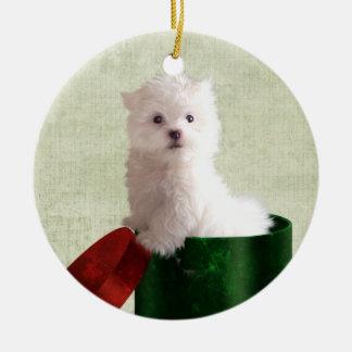 Maltese puppy Christmas Ceramic Ornament