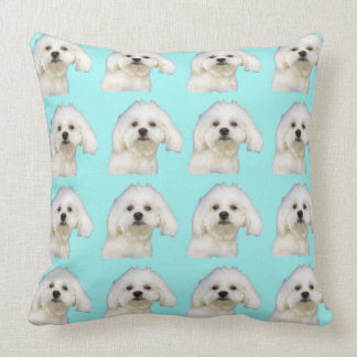 Maltese puppy on blue throw pillow