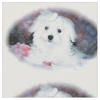 Maltese Puppy Print - Perfect for Valentines Day Fabric