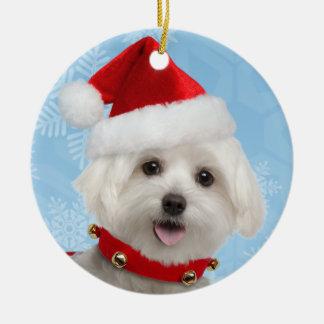 Maltese Puppy Round Christmas Ornament