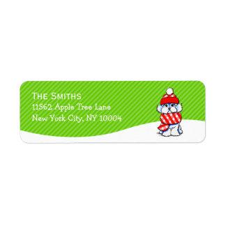 Maltese Scarf Christmas Mailing Mod Green Stripe Return Address Label