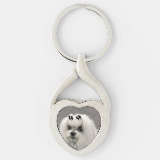 maltese Silver-Colored twisted heart keychain