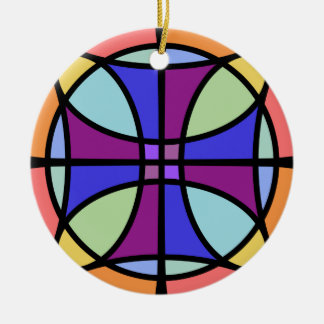 Maltese Stained Glass 2 Ceramic Ornament