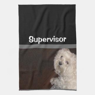 MALTESE SUPERVISOR  Kitchen Towel-Gray/Black/White Kitchen Towel