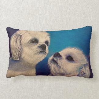 Maltese white Puppies Lumbar Pillow